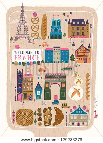 lovely France travel poster with famous attractions and specialties