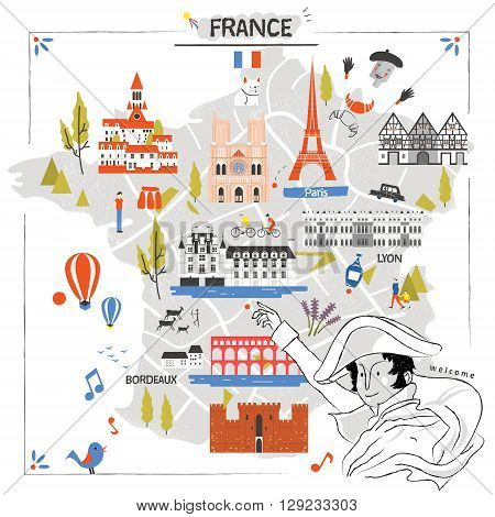 graceful France travel map with attractions and Napoleon