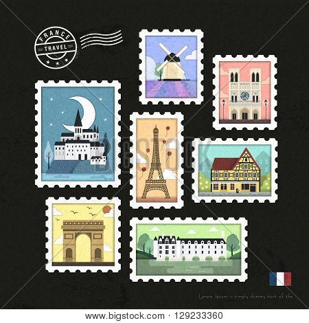 lovely French attraction stamps collection set design