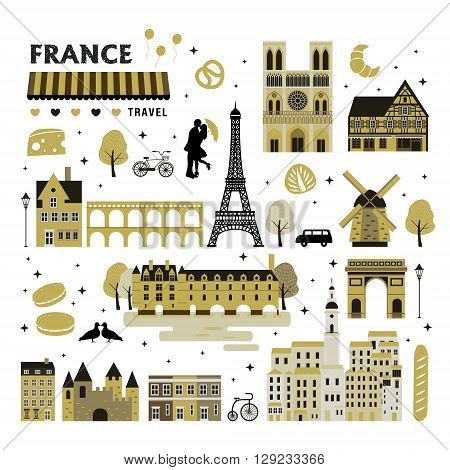 lovely French attraction collection set design in flat style