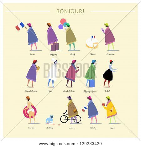 attractive French fashion poster design with women
