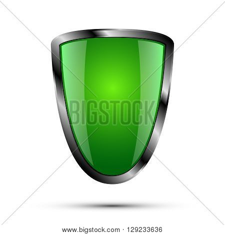Realistic empty metal shield with shadow, green color, vector illustration