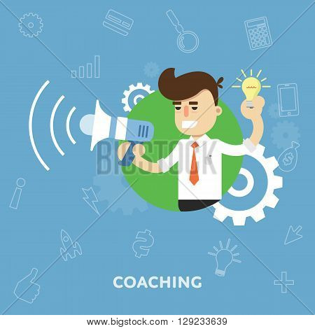 Coach tells into a megaphone concept business training flat abstract isolated vector illustration