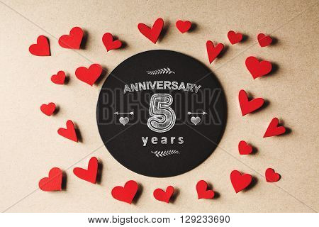 Anniversary 5 Years Message With Small Hearts