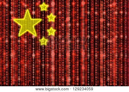 Chinese flag texture with digital red zeros and ones strains and shiny yellow stars that are half transparent