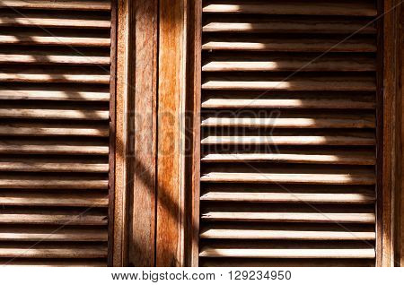 Pattern of old wood window in the sunlight
