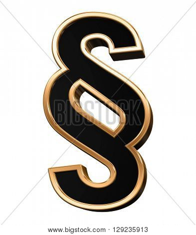 Paragraph sign from black with copper shiny frame alphabet set, isolated on white. 3D illustration.