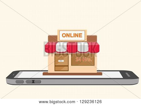 Vector illustration of online store shop on smartphone mobile screen. online shopping concept .eps 10