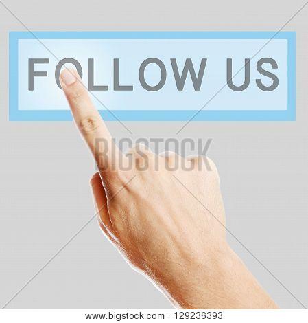 Follow Us button on thre  virtual screen