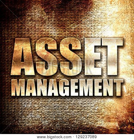 asset management, rust writing on a grunge background