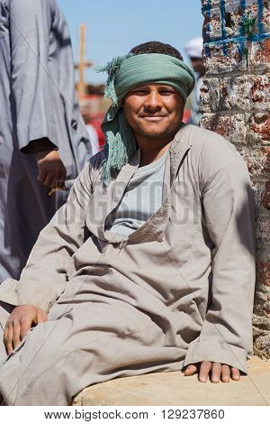 DARAW, EGYPT - FEBRUARY 6, 2016: Portrait of camel salesman at Camel market.