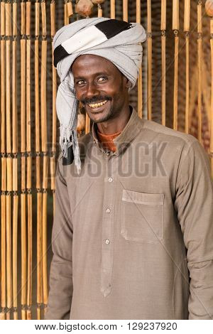 DARAW, EGYPT - FEBRUARY 6, 2016: Portrait of local man with turban.