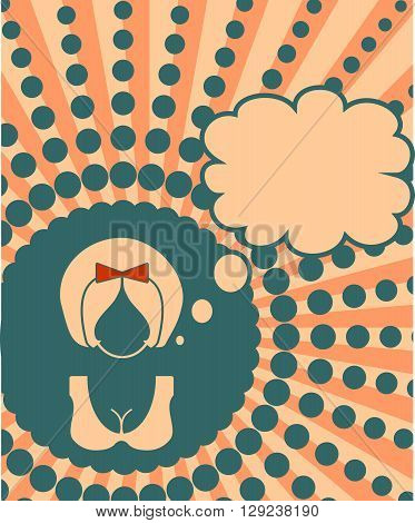 Banner with female face and thinking bubble. Vintage style