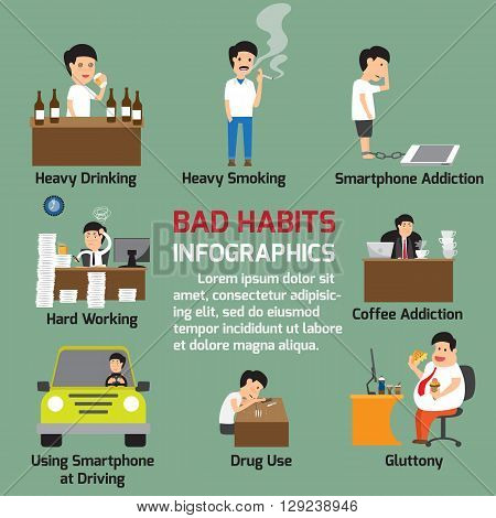 Popular bad habits infographics elements. Alcohol drinking drug usage smoking gluttony with obesity smartphone addiction working hard. vector illustration.