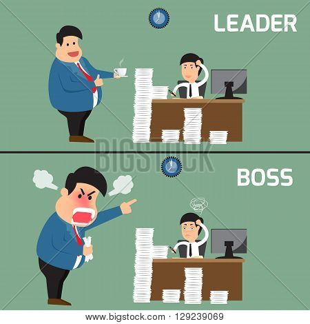 Difference between boss and leader. Boss help employee for working to success Boss shouts to employee in work fatigue Leadership business concept Vector illustration.