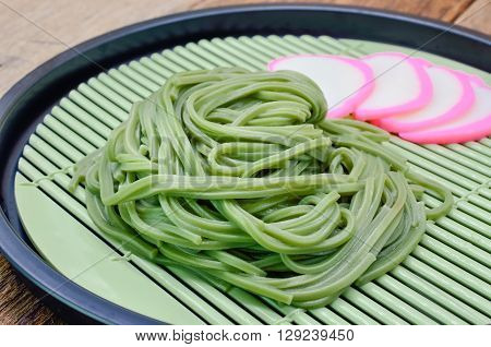 Japanese Cha Soba (Green tea Soba) in  dish, Selective focus