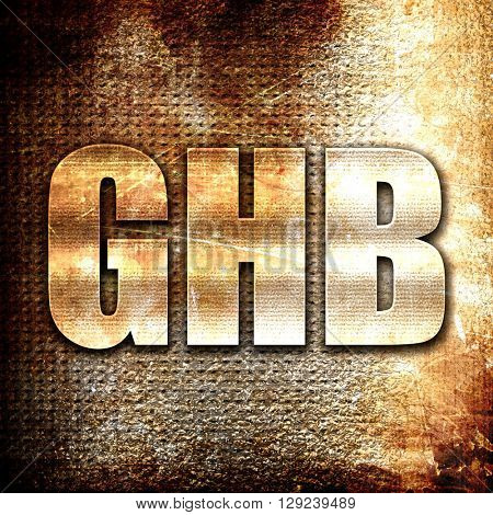 ghb, rust writing on a grunge background