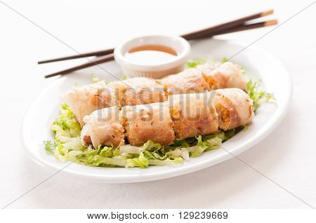 egg roll or spring roll vietnamese style with spicy pepper dip sauce