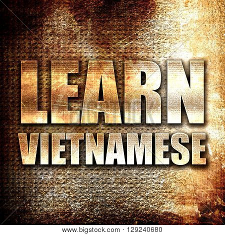 learn vietnamese, rust writing on a grunge background