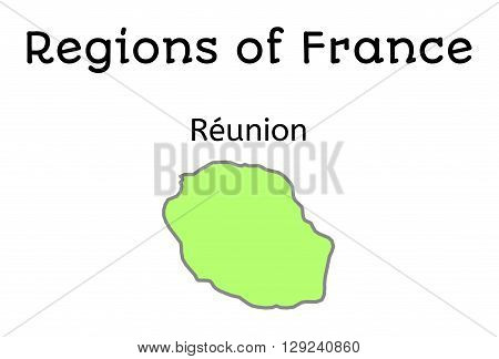 France administrative map of Reunion region on white