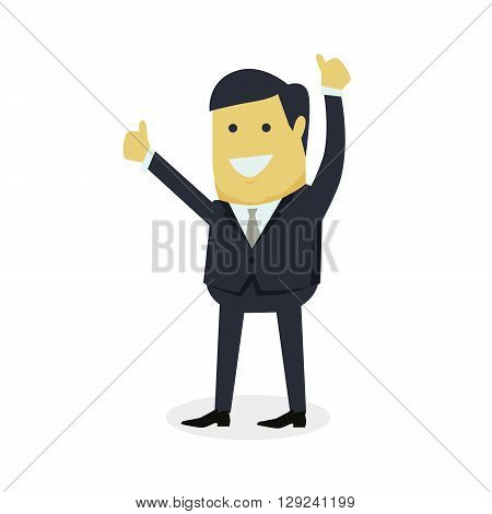 Businesman show gesture thumb up. Young successful man do business hand gesture shows good job isolated on white background. Approval of the praise and agreement. Vector illustration