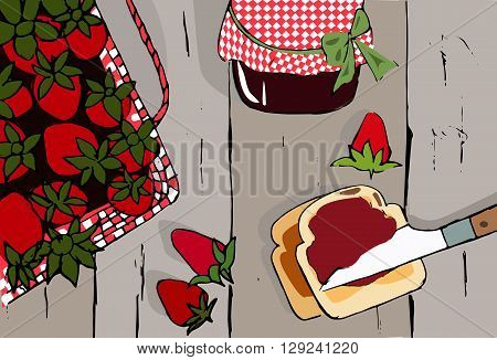 Hand drawn vector vintage strawberry set in grunge style. Tasty food set. Toast with strawberry jam.