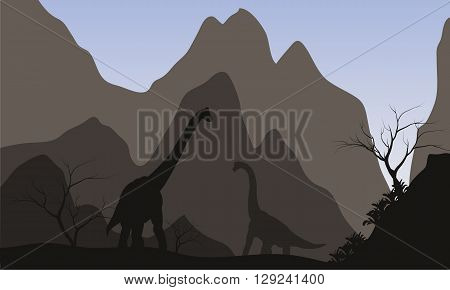 Brachiosaurus silhouette with mountain with gray backgrounds