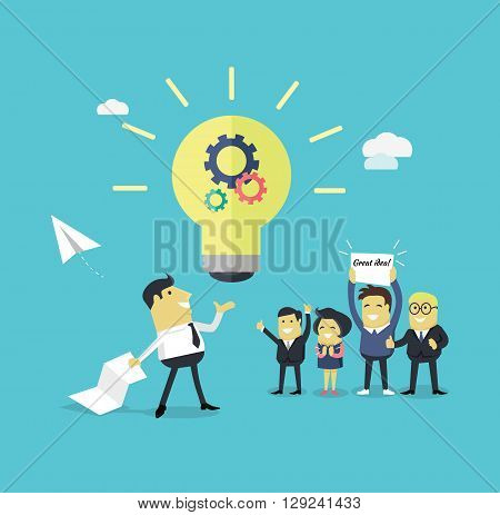 Successful design concept great idea design flat. Businessman with a piece of paper in his hand creates a new idea. Business  work employee happily support colleague with banner. Vector illustration
