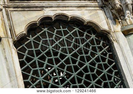 Ottoman engravement patterns on a stone window