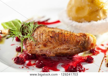 Duck Meat with Berries Sauce and Stewed Apple