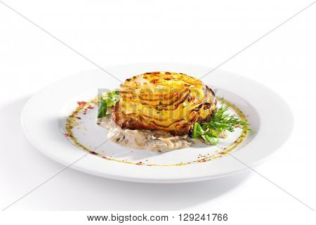 Pork Steak with Mashed Potato, Mushrooms Sauce and Vegetables