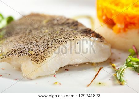 Fish Fillet with Mashed Potato and Carrot