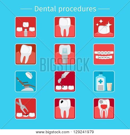 Stomatology and dental procedures flat icons. Toothcare vector illustration