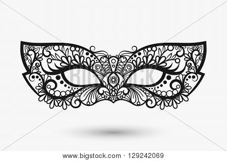 Beautiful lace mask. Mardi Gras mask icon. Vector llustration