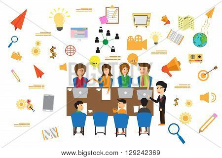 Concept of business meeting exchange ideas and experience coworking people and discussion advertise production vector illustration.