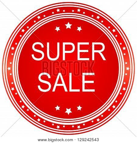 Super sale seal or icon. Red seal or button with stars