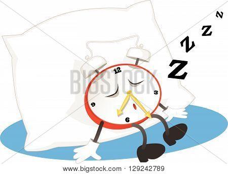 Alarm clock sleeping on a pillow, EPS8 vector illustration
