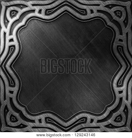 Metal background. Carved silver metal plate. Luxury and rich metal design. Retro metal plate
