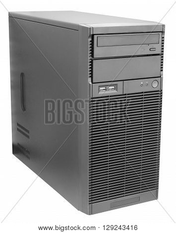 Black desktop server isometric view isolated on the white background