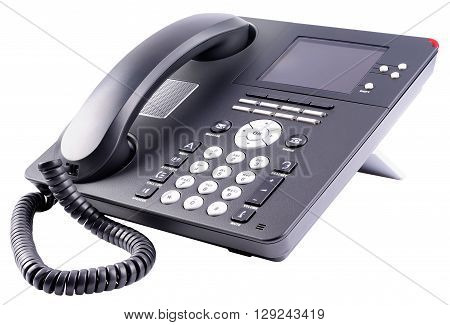 Office IP telephone set with large LCD isolated on the white