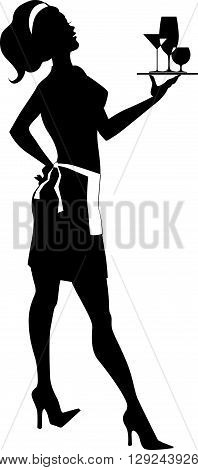 Silhouette of a cocktail waitress,holding a tray with assorted drinks