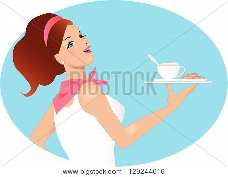 A waitress with a cup of coffee and cookies