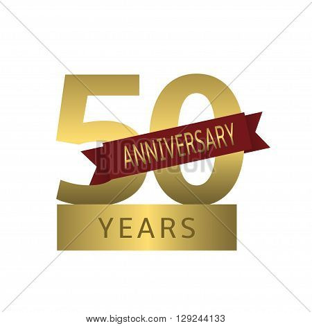 50 Anniversary years. Golden symbol with red ribbon