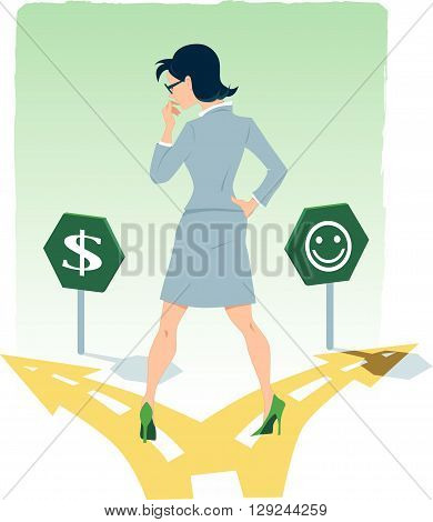 Businesswoman standing at the fork in the road, choosing between money and happiness