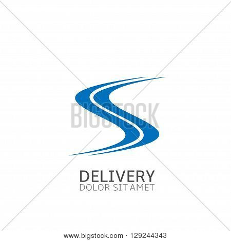 Blue Road sign logo. Transportation concept,  Delivery company logo template