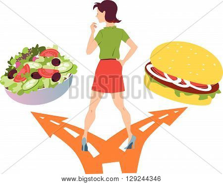Healthy eating habits. Woman standing at the fork in the road, choosing between a salad and a hamburger