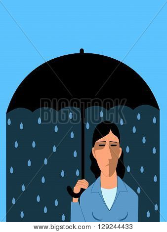 Clinical depression, sad woman under umbrella, vector cartoon