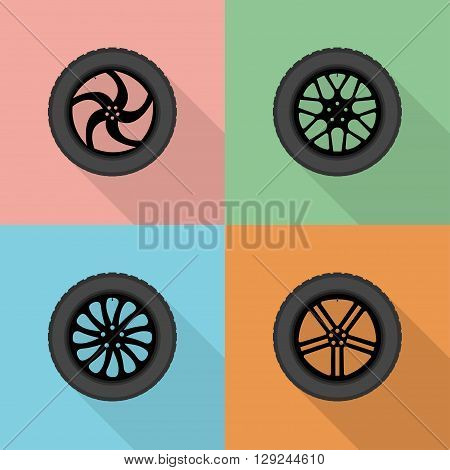 Flat vector different wheel disks. Tire with black wheel disks in flat style.