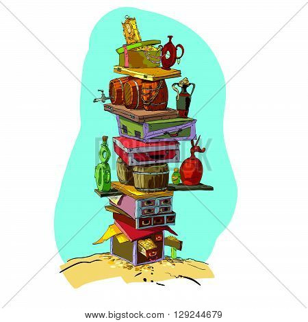 Pirate treasure gold and treasure chests. Color vector illustration. Fabulous wealth