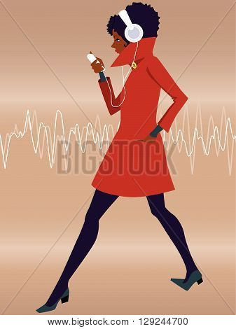 Woman in earphones walking and listening to music